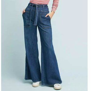 Anthropologie Pilcro Belted Wide Leg Jeans